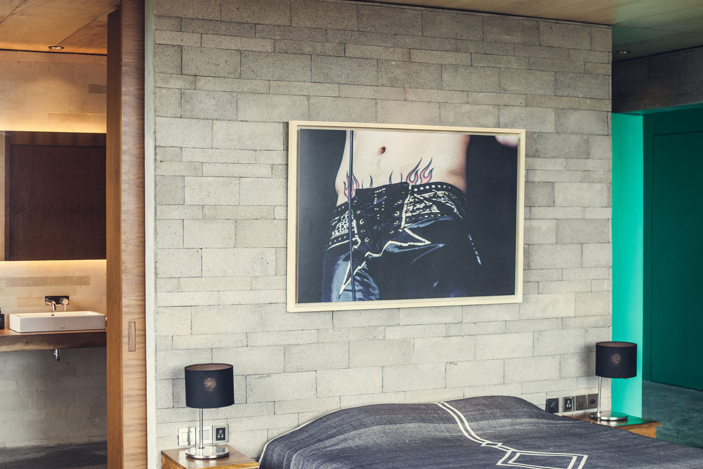 Bedroom at The Slow, Bali. Misty Creek bed throw by Pony Rider